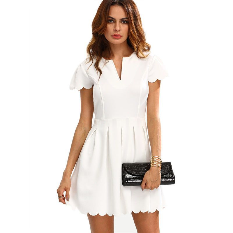 9aad962d98 Work Mini Dress Plain White V Cut Scalloped A-Line Dress