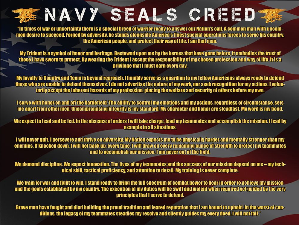 US Military Navy Seals Creed With Flag Background Poster