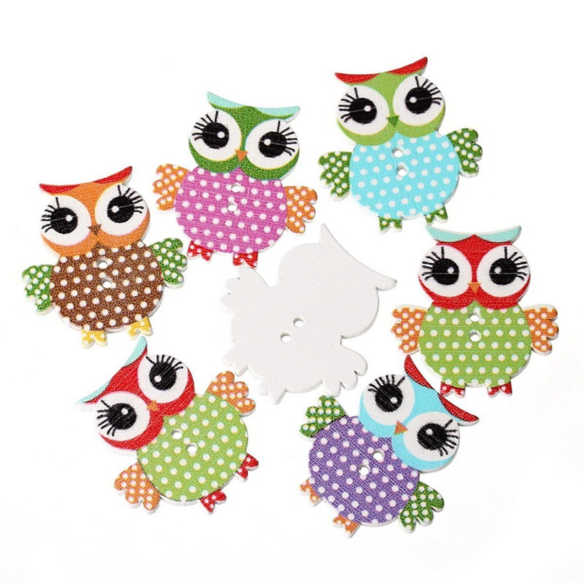 HOUSWEETY 100pcs Mixed 2 Holes Owl Dot Wooden Buttons Sewing and Scrapbooking 3.4x3.3cm *** Check this awesome item by going to the link at the image.