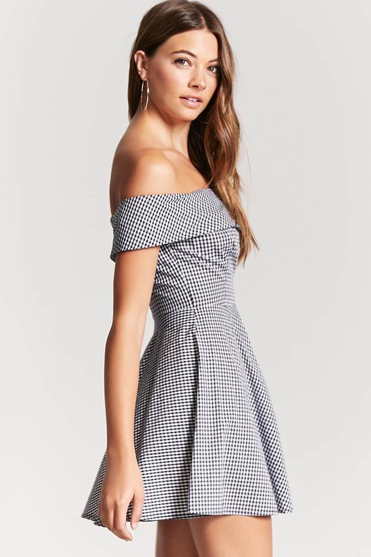 Product namegingham offtheshoulder dress categorydress price