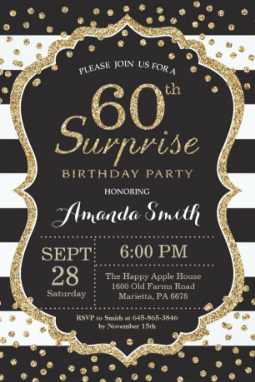 Surprise 60th Birthday Invitation Gold Glitter Invitation Zazzle Com In 2021 70th Birthday Invitations 60th Birthday Invitations Birthday Invitation Templates