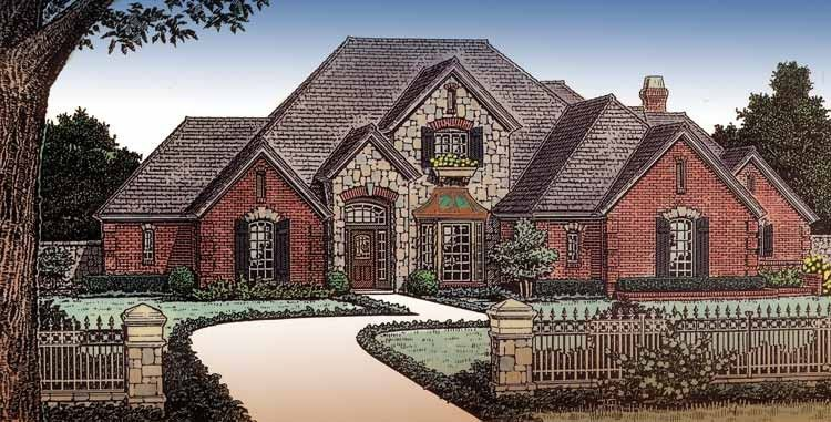 French Country House Plan with 3709 Square Feet and 4 Bedrooms(s) from Dream Home Source | House Plan Code DHSW49202