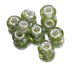 Lamp Work Green White Wave 9.5x14.5mm 925 Sterling Silver Core Glass European Beads
