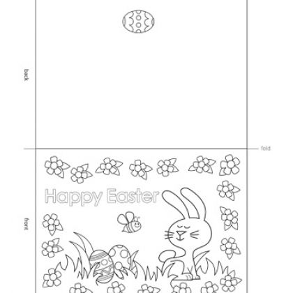 easter card printable for kids to color – Sample Easter Postcard Template