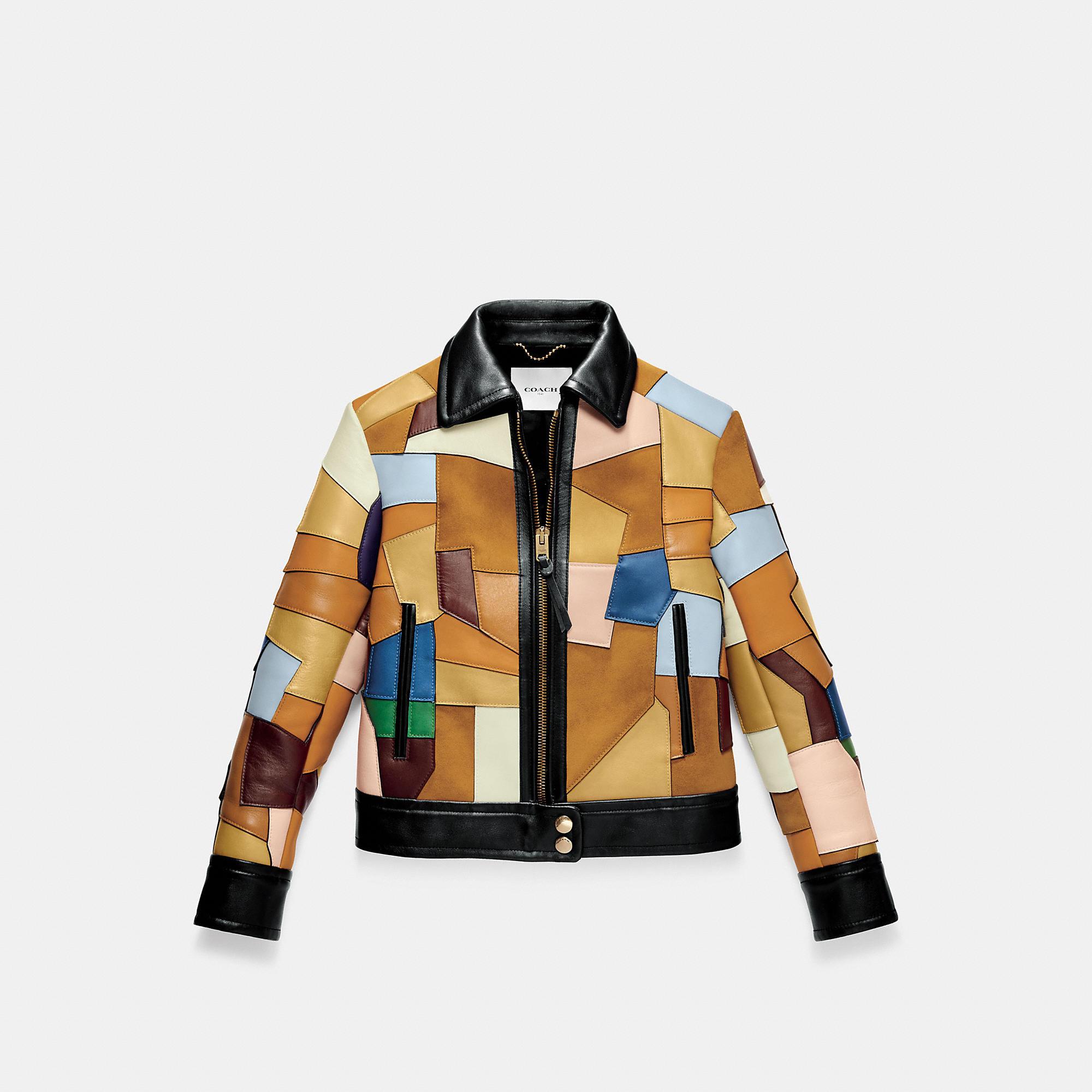 Coach 1941 Leather Patched Mod Jacket Women S Mod Jacket Spring Outerwear Designer Winter Jackets [ 2000 x 2000 Pixel ]