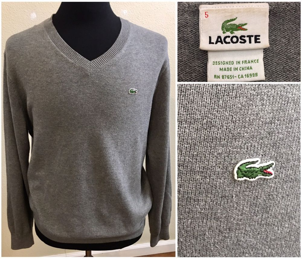 LACOSTE Mens Sweater V Neck Cotton Solid Gray Size 5 Large Pullover  #Lacoste #VNeck