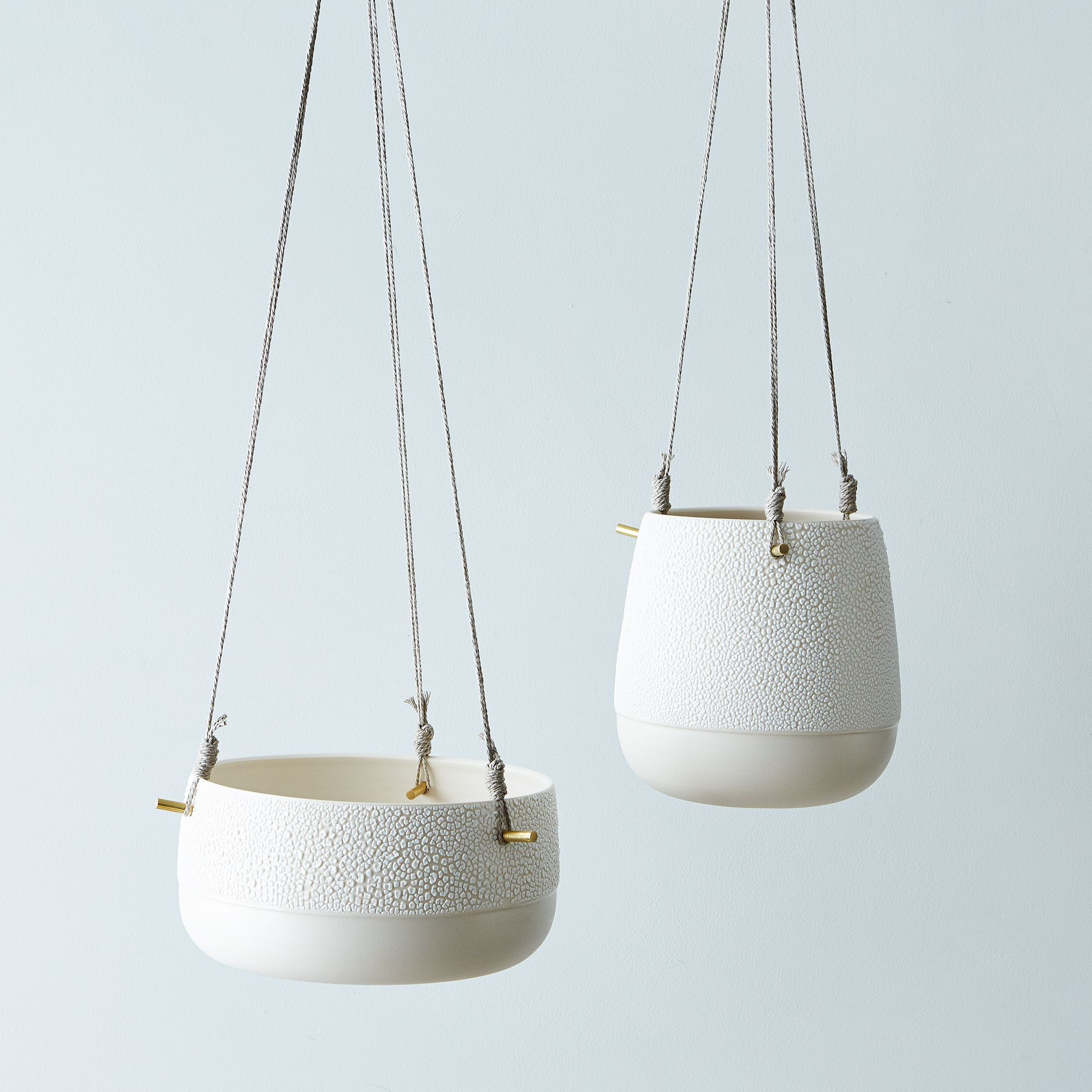 Textured Ceramic and Brass Hanging Planters on Food52