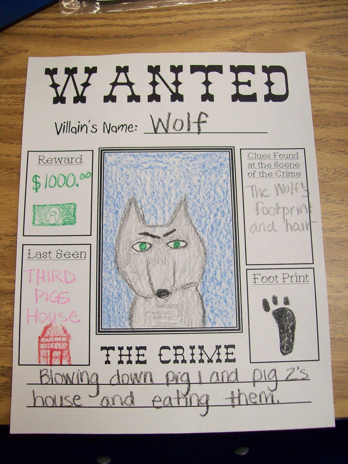Wanted poster for the Big Bad Wolf
