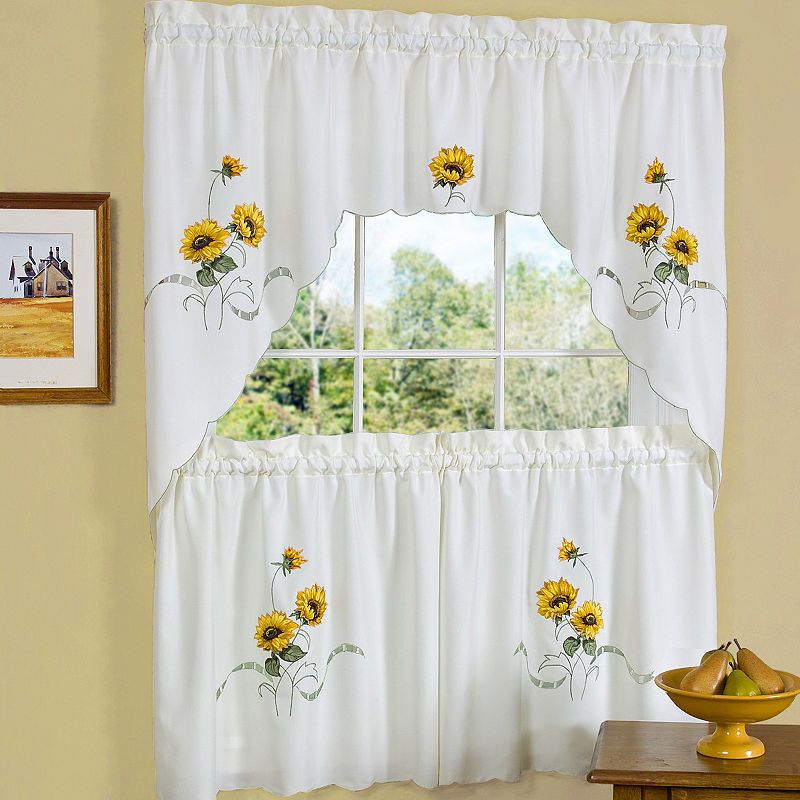 Sunflower Embroidered Kitchen Curtain Set Sweet Home Collection