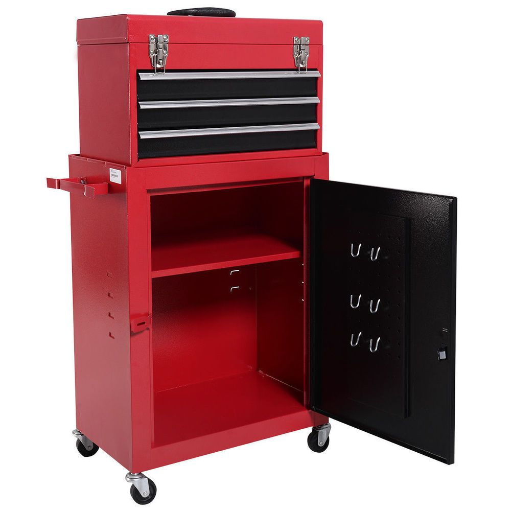 Portable 2 Piece Small Cabinet Toolbox Rolling Chest Tool Storage
