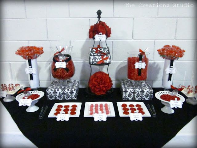 Black Red And White Candy Buffet As Wedding Favors