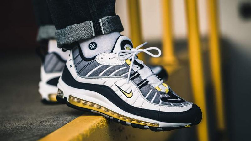 low priced 8b1c6 2b4e1 Nike Air Max 98 OG White Navy Yellow On Feet