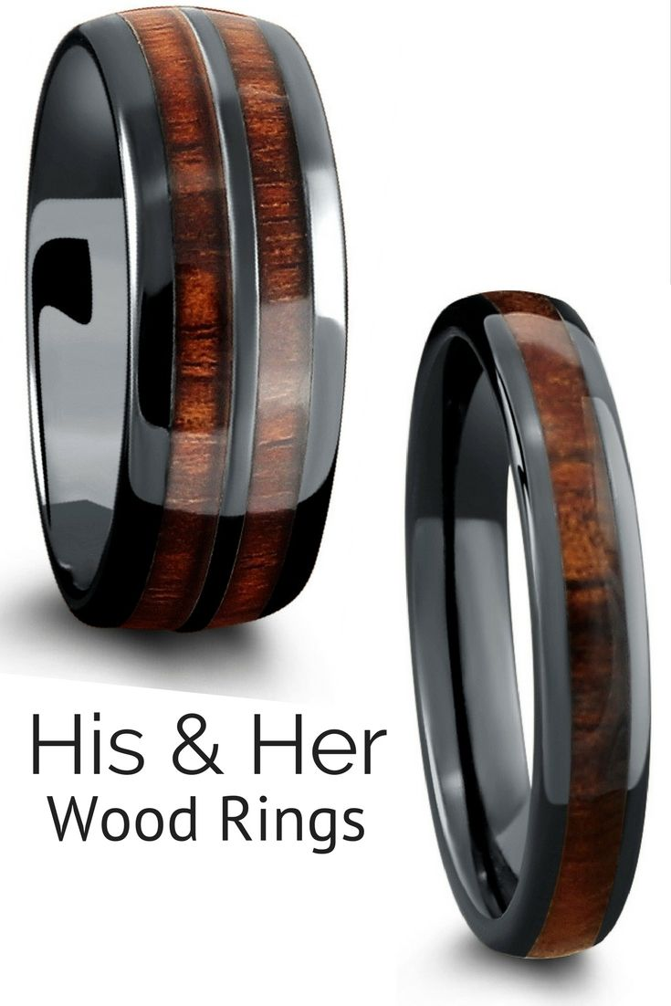 His And Her Wood Rings These Wood Rings Make The Perfect Match Wood Wedding Rings Crafted Out Of High Tech Ceramic Wood Wedding Ring Wedding Rings Wood Rings