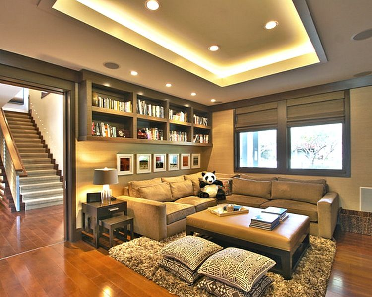 Desain Plafon Ruang Tamu Mungil Sederhana Family Room Contemporary Family Room Contemporary Family Rooms This contemporary family room design