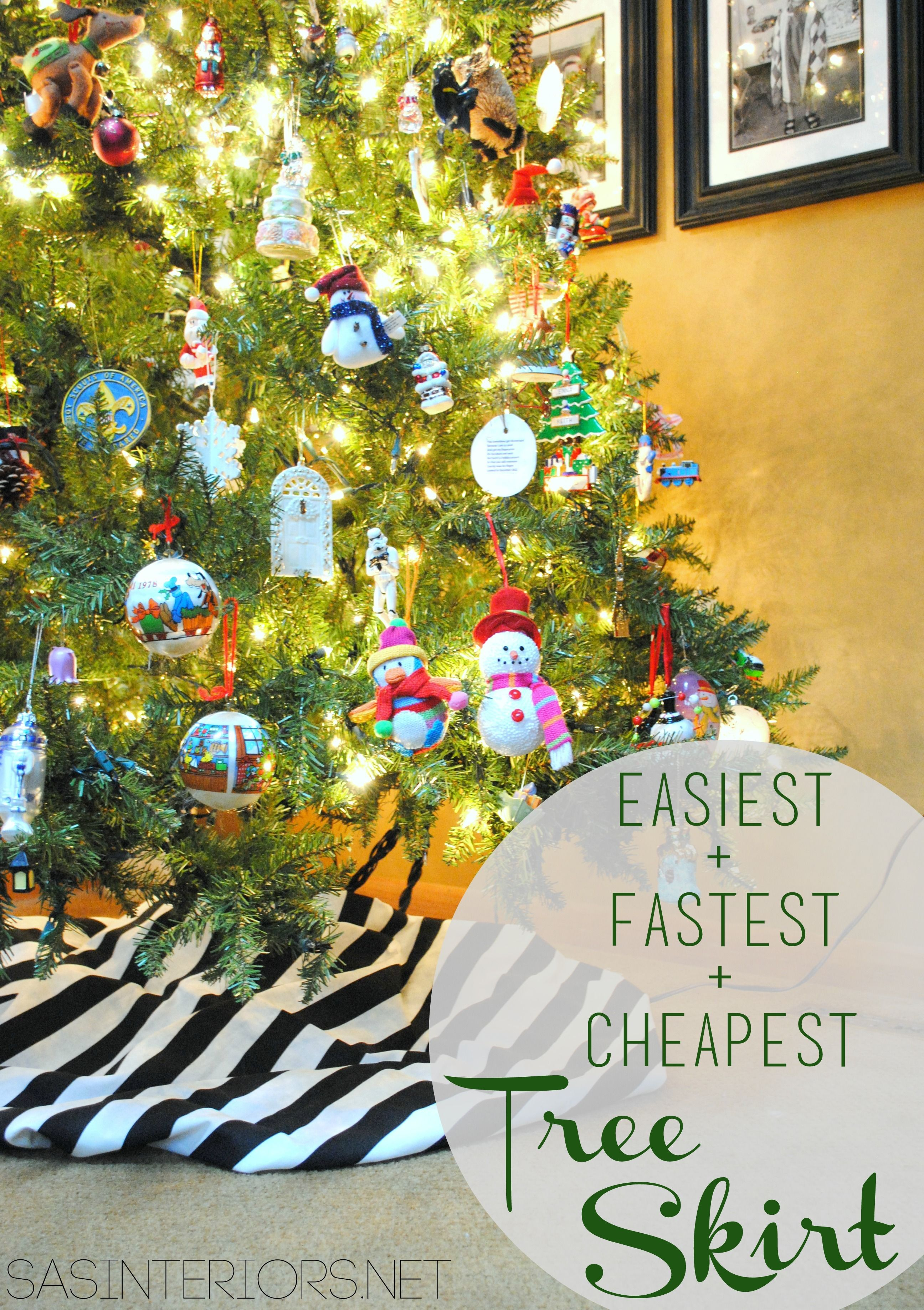 easiest fastest cheapest christmas tree skirt use 15 yds of fabric and wrap around tree follow easy instructions by jenna_burger - Cheap Discount Christmas Decorations
