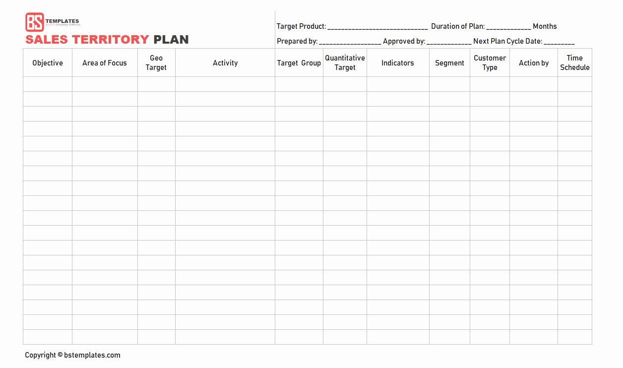 Territory Management Plan Template Lovely Sales Plan