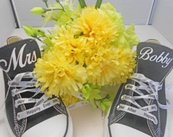 Custom Wedding Converse Low Black + Happily Ever After Ribbon Laces - Personalized  Mrs Wedding Shoes 93b11a078