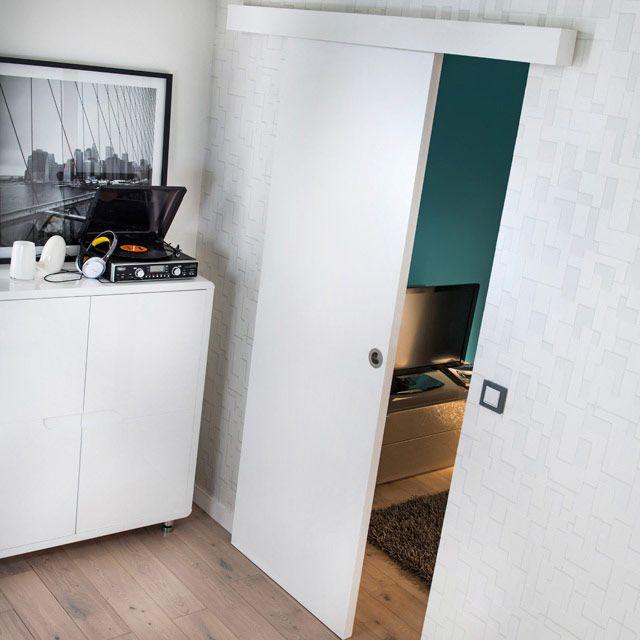 Porte coulissante prépeinte blanche 83cm + système en applique