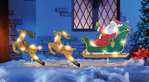 Vibrant Colorful LED Lighted Santa Claus in Flight Sleigh Reindeer Flying  Christmas Yard Stake Outdoor Holiday Decoration //Price: $ & FREE Shipping  ... - Vibrant Colorful LED Lighted Santa Claus In Flight Sleigh Reindeer