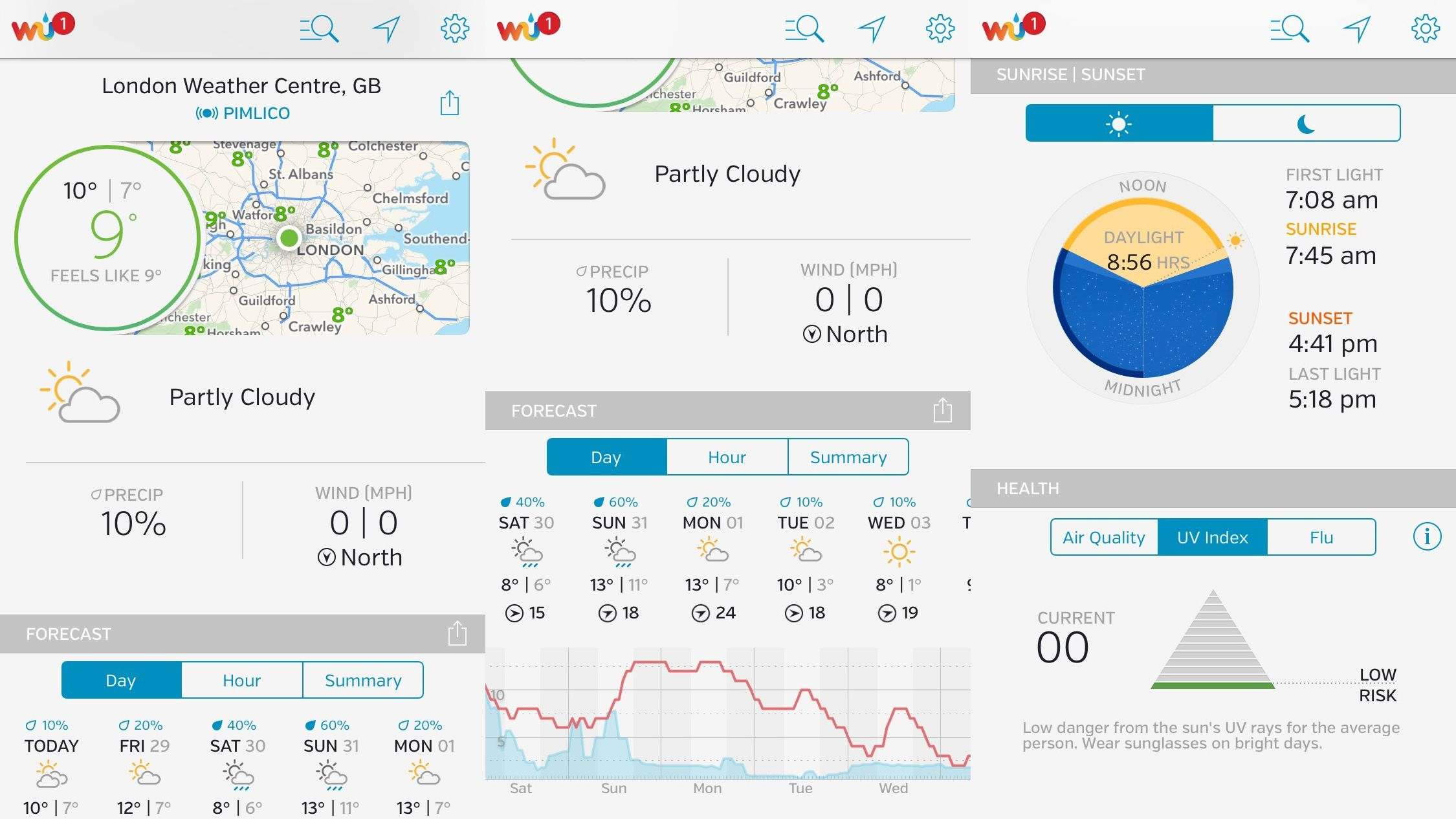 Weather Underground Weather center, App, Iphone