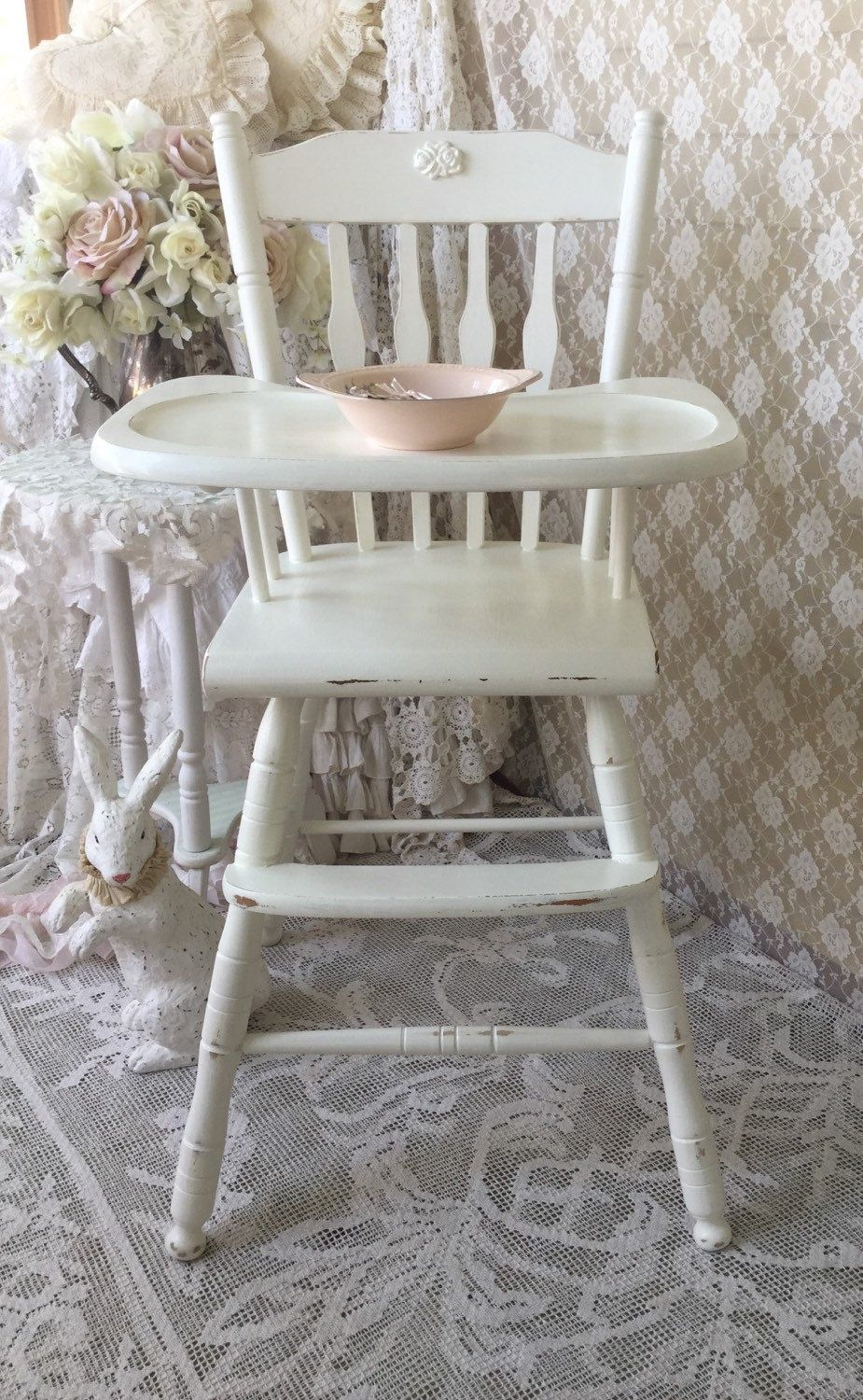 Groovy White Wood Baby High Chair Wooden High Chairs Vintage Gmtry Best Dining Table And Chair Ideas Images Gmtryco