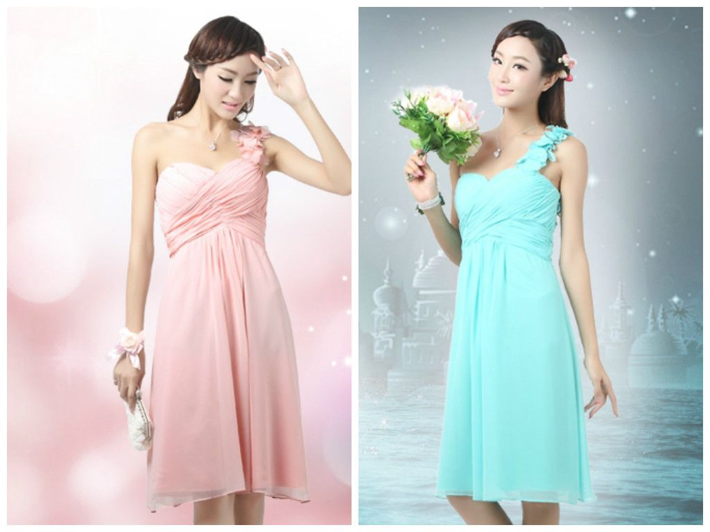 Bridesmaid dresses gown in various colors short dress plain elegant and sweet one shoulder plain colored chiffon dress very flowy short dresses perfect for your bridesmaids ombrellifo Images