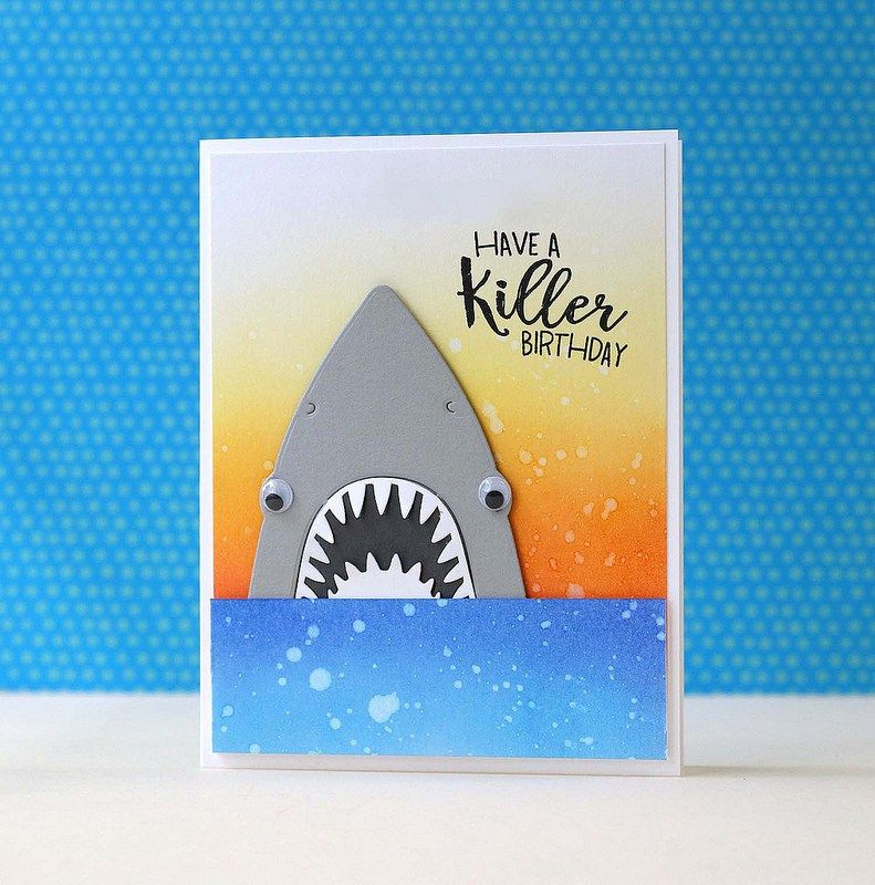 Hero Arts Paper Layering Shark Killer Messages Cards With A