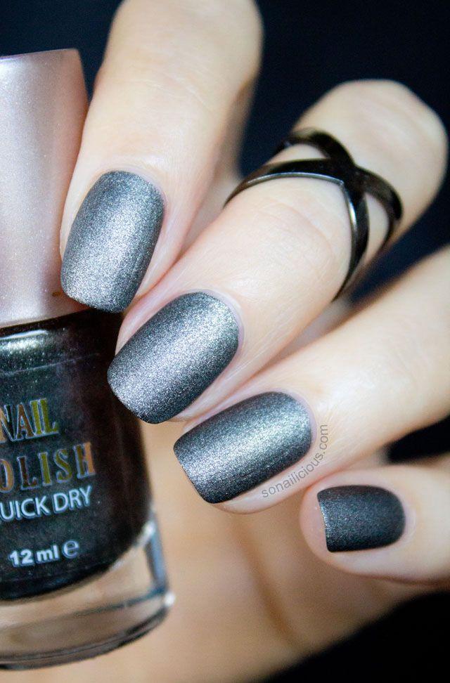 Black Matte Nails.   beauty   Pinterest   Negro mate, Esmalte y ...
