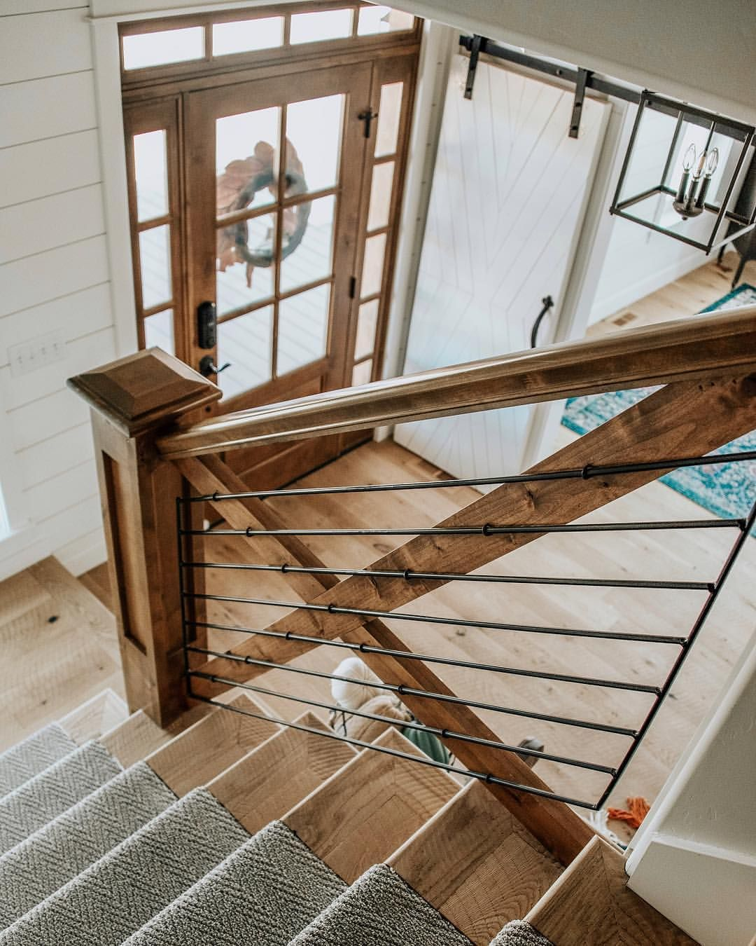 "Bree | White Sparrow Farm on Instagram: ""My dream entry way (and Pinterest board) before building included: a wood door, a transom window, X railing, L stair case, a stair runner…"" #staircaseideas"