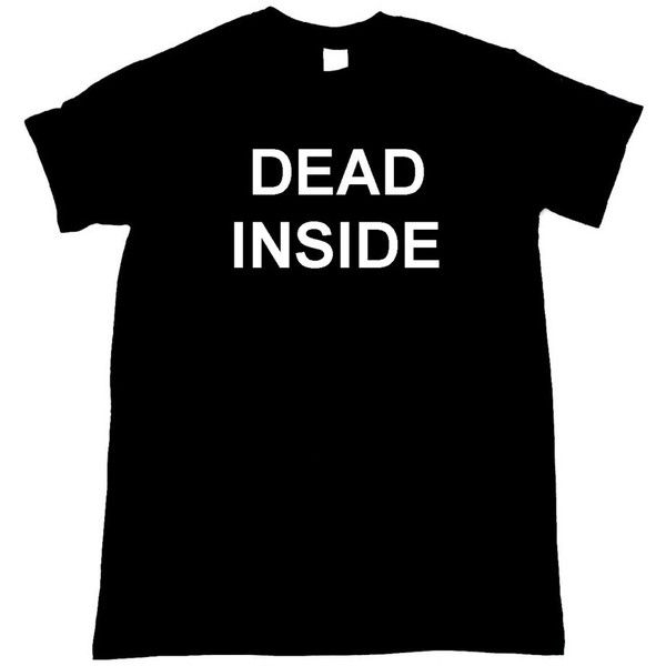 Dead Inside Graphic Print Tee Shirt (€13) ❤ liked on Polyvore featuring tops, t-shirts, shirts, tees, graphic tops, unisex t shirts, graphic shirts, graphic print tees and graphic design shirts