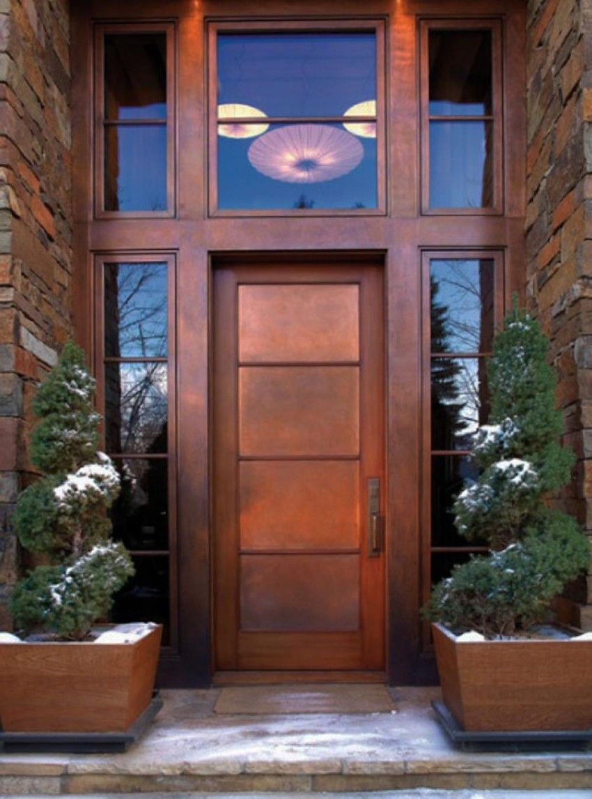 Painted front doors with sidelights - Exterior Modern Brown Painted Front Door With Tall Sidelights And Big Fanlight Idea Feat Awesome