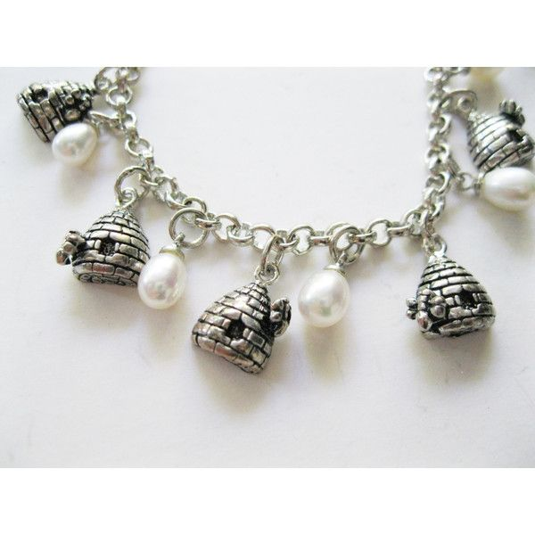 Bee Alive Charm Bracelet Beehives and Faux Pearls Bridesmaid Gift ($15) ❤ liked on Polyvore featuring jewelry, bracelets, fake pearl jewelry, faux pearl jewelry, charm bracelet, bumble bee jewelry and bee jewelry