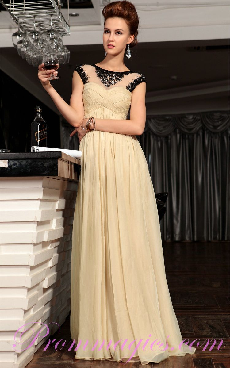 Empire waist ruched black and champagne evening dress in stock