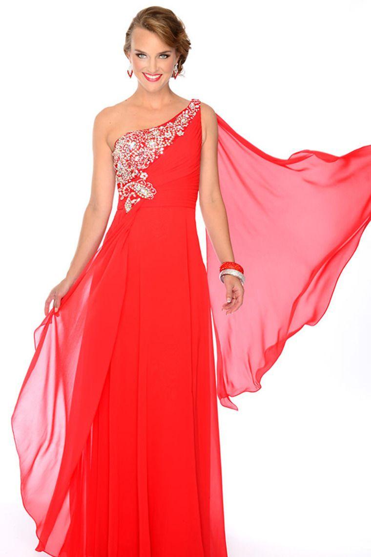 One Shoulder Beaded Neckline Princess Floor Length Passionate Red ...