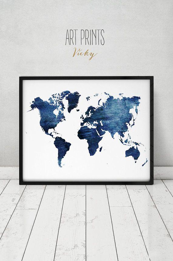 groe Welt Karte Poster blaue Weltkarte drucken von ArtPrintsVicky