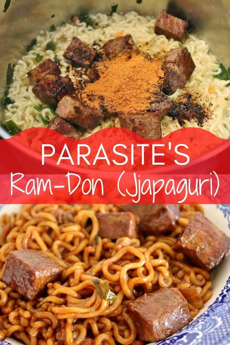 The instant noodle dish from Parasite is taking the internet and the world by storm! Ram-Don (more traditionally known as jjapaguri) gets an elevated twist with seared cubes of steak. This recipe is super easy to make, and crazy delicious! #ram-don #jjapaguri #korean #koreanfood #parasite #noodles #instantnoodles