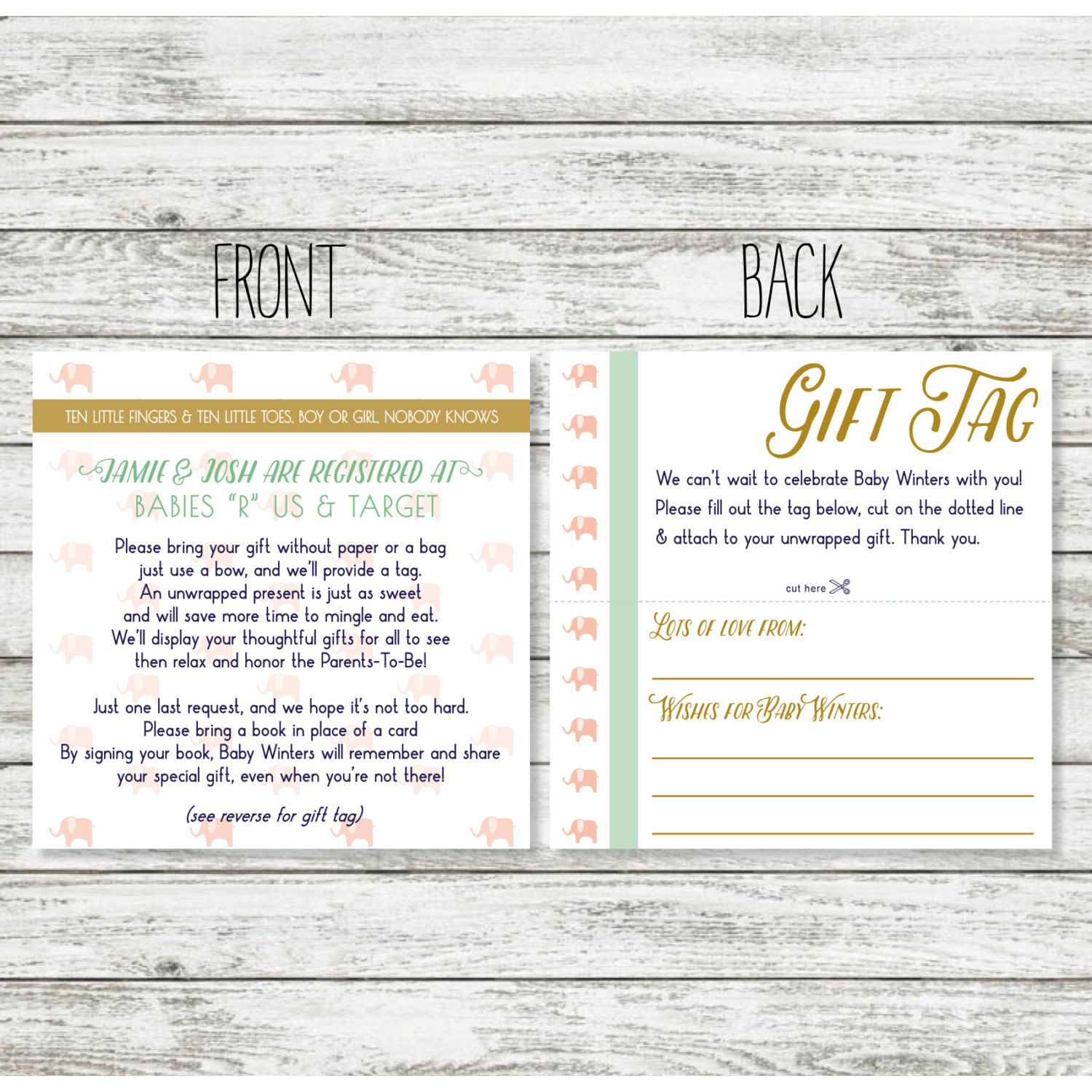 Baby Gift Register Uk : Baby shower registry card wording for unwrapped gift