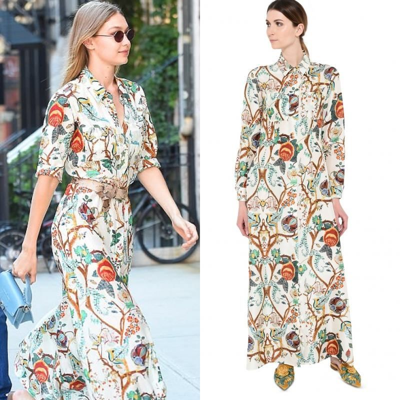 c91da0f609f Exact Gigi Hadid Maxi Floral Shirt Dress by Alberta Ferretti Spring Summer  Collection 2018