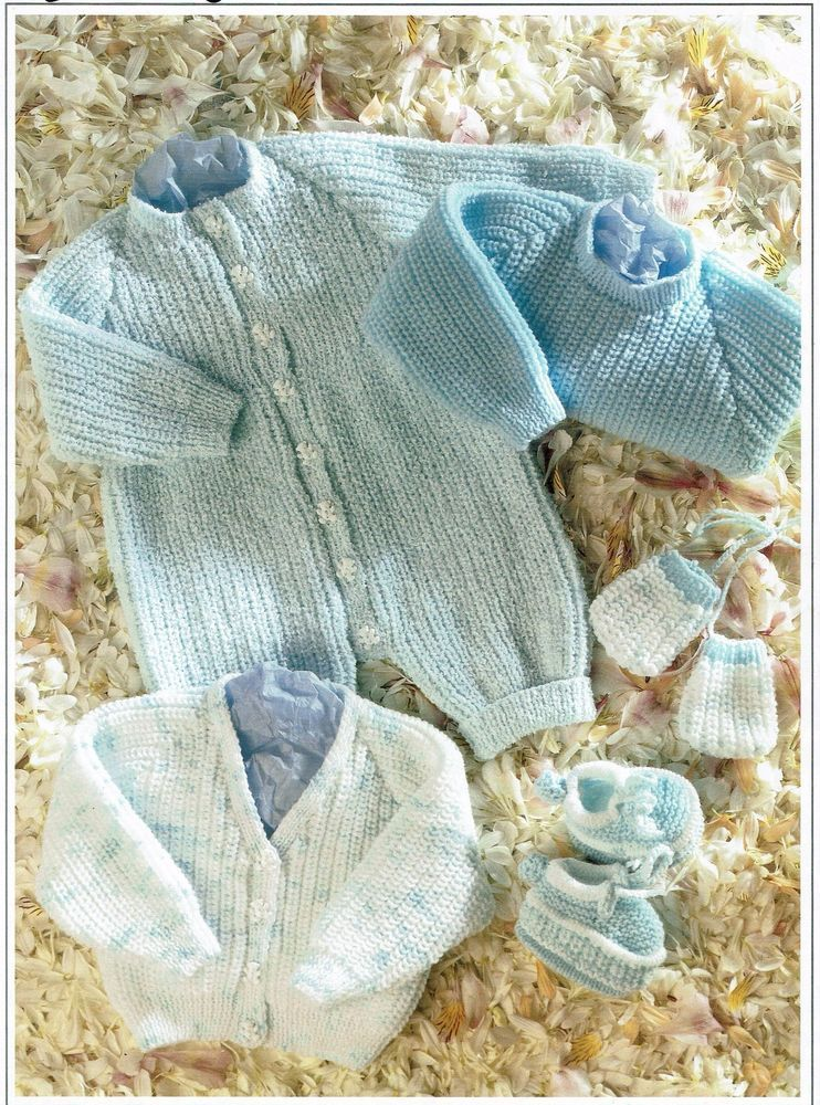 Baby All In One Knitting Pattern Dk Cardigan Sweater Booties