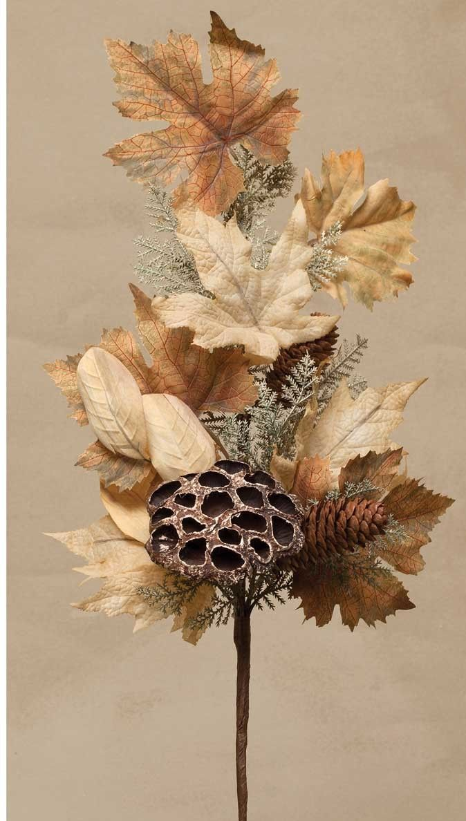 Decorative Spray With Faux Leaves Pinecones Dried Lotus Seed Pods