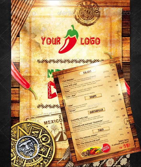 Mexican Menu design\/art Pinterest Print templates, Food menu - dinner menu templates free