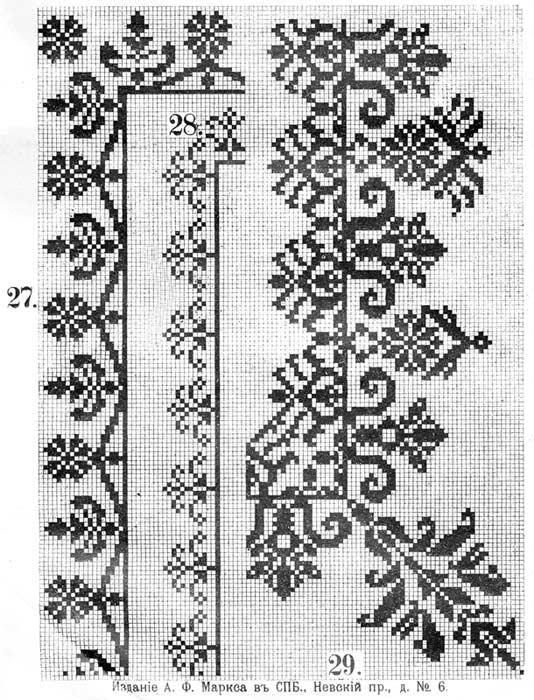 Схемы узоров и орнаментов для вышивки крестом