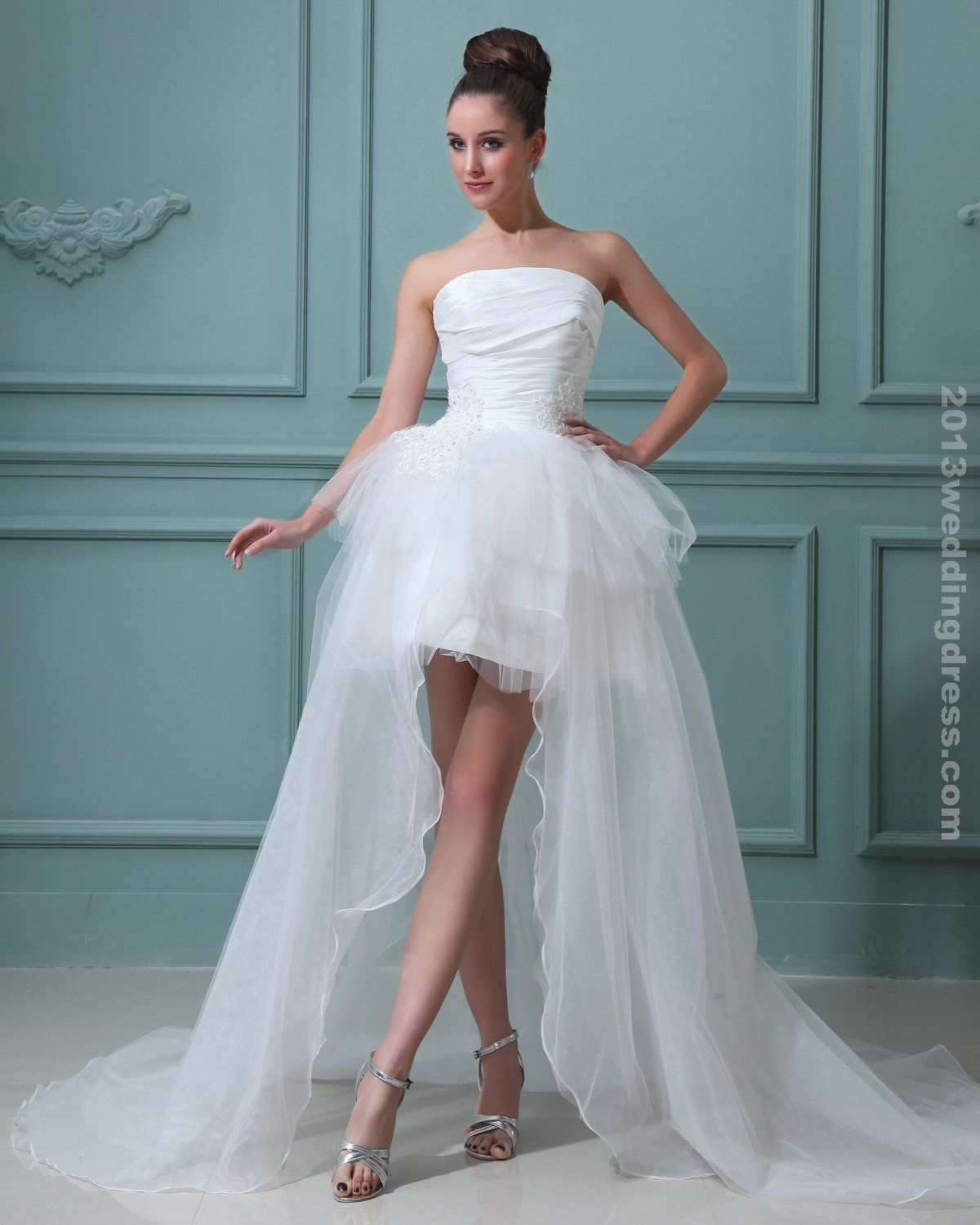 Amazing Taffeta Strapless Sash Short Bridal Gown Wedding Dresses ...