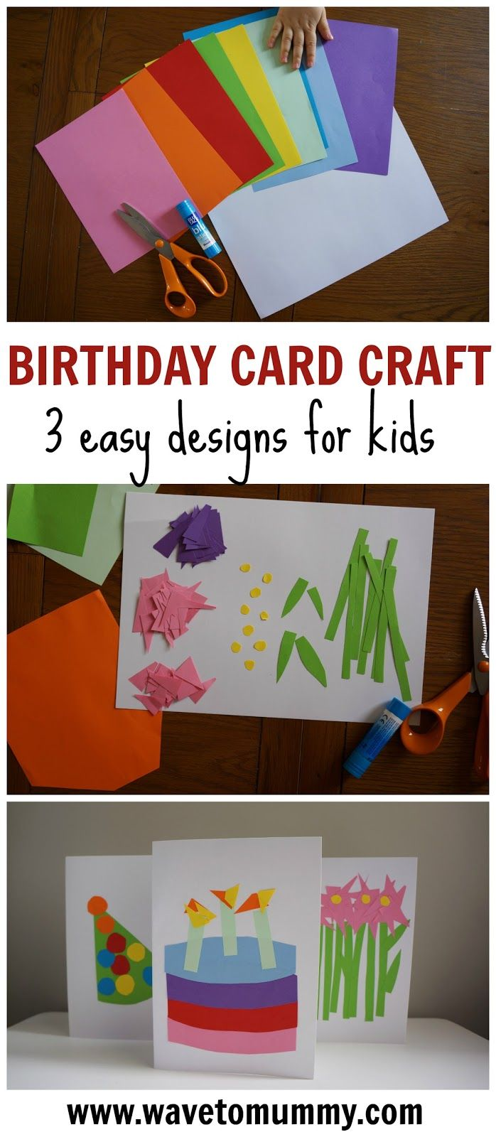 How to easy birthday card crafts to do with toddlers paper glue