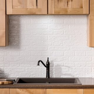 Fasade Brick Matte White Backsplash Panel Sample Plastic