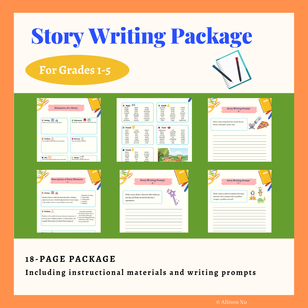 Story Writing Package For Grades 1 5 By Allison Xu