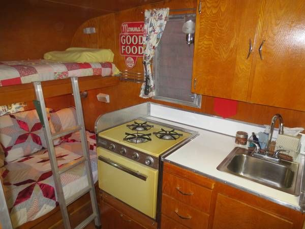 Red vintage Shasta interior
