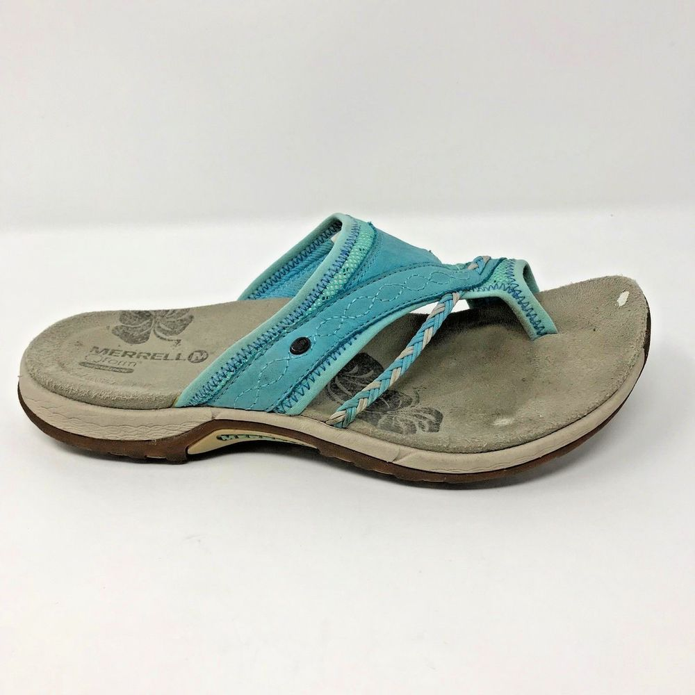 384282be14d3 Merrell Women Size 6 Hollyleaf Blue Leather Single Toe Loop Thong Sandals   Merrell  FlipFlops