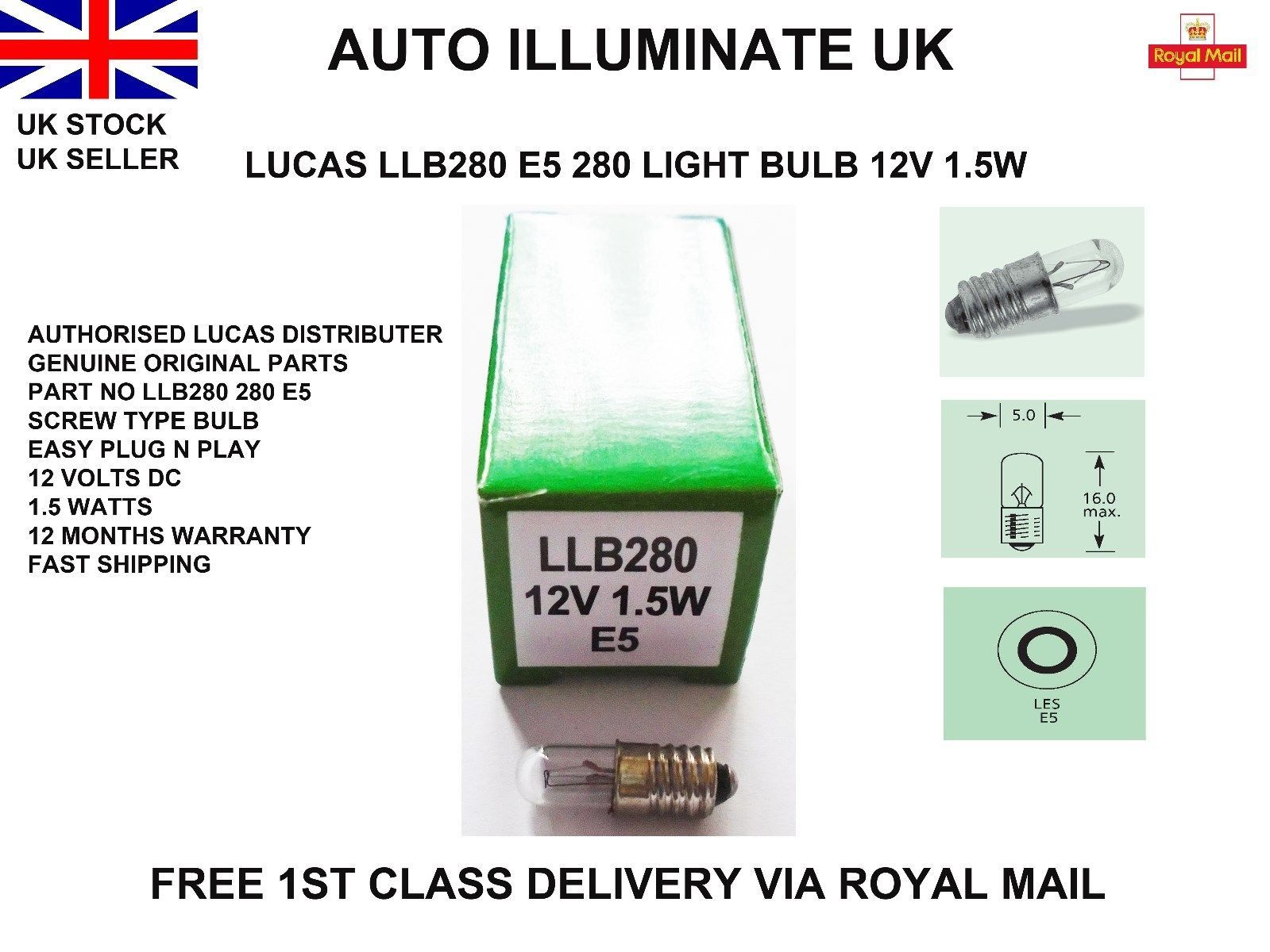Lucas LLB280 12V 1.5W LES Bulbs Les Car Dashboard Clock Light Bulb