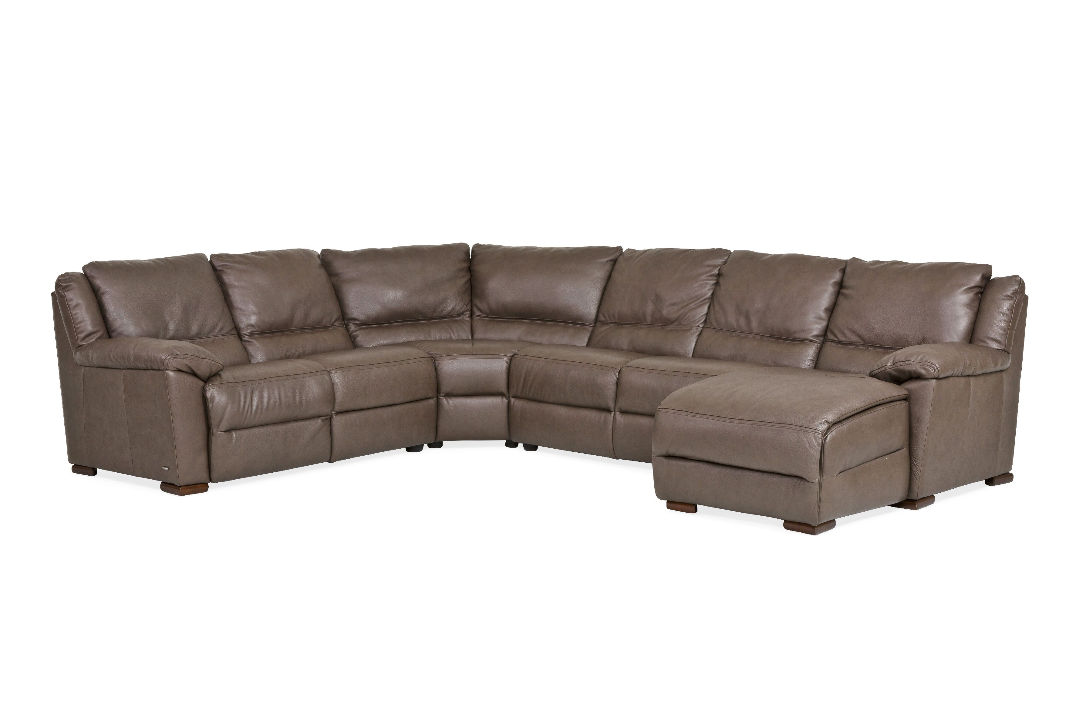100% Natuzzi leather sectional features a recliner and chaise